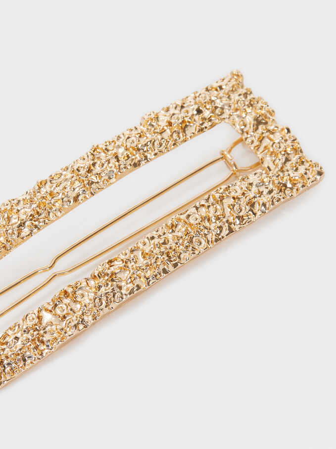 Hair Pin With Raised Effect, Golden, hi-res