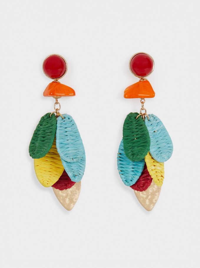 Long Dangle Raffia Earrings, Golden, hi-res