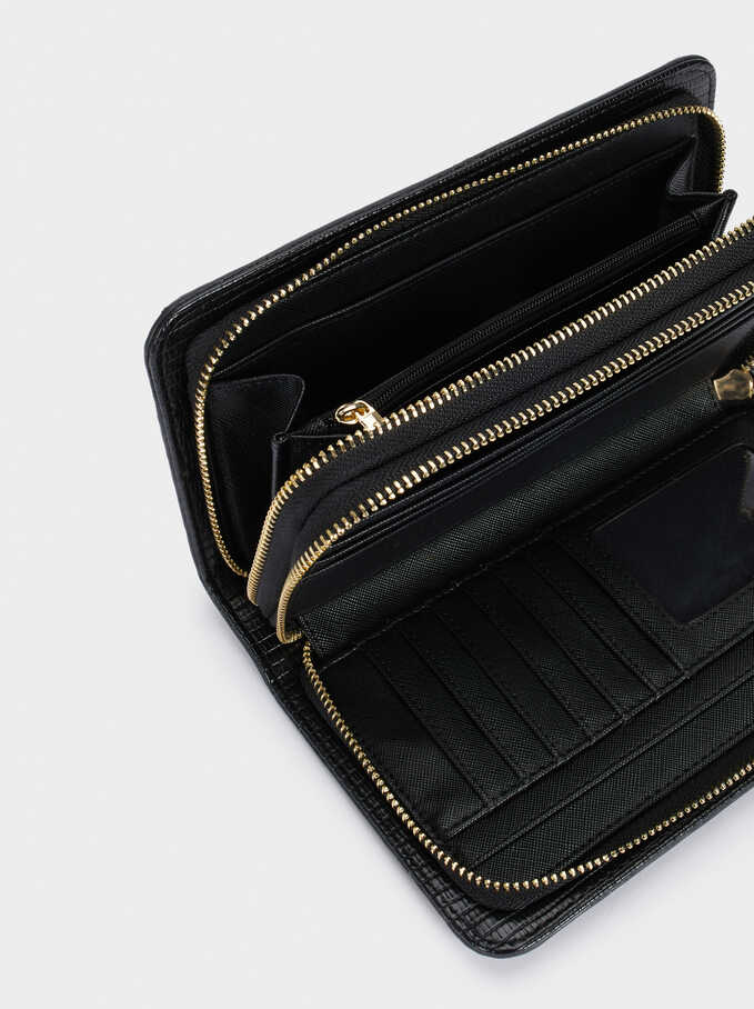 Contrast Purse With Zip Closure, Black, hi-res