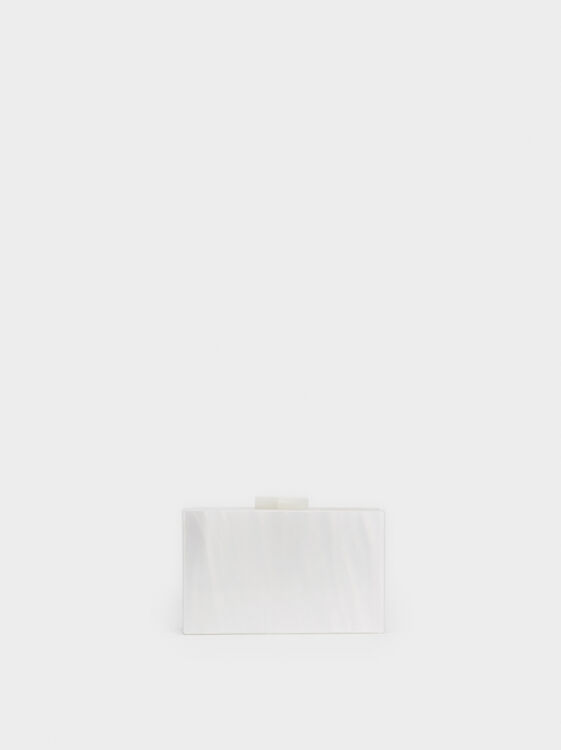 Pearlescent Party Clutch, White, hi-res