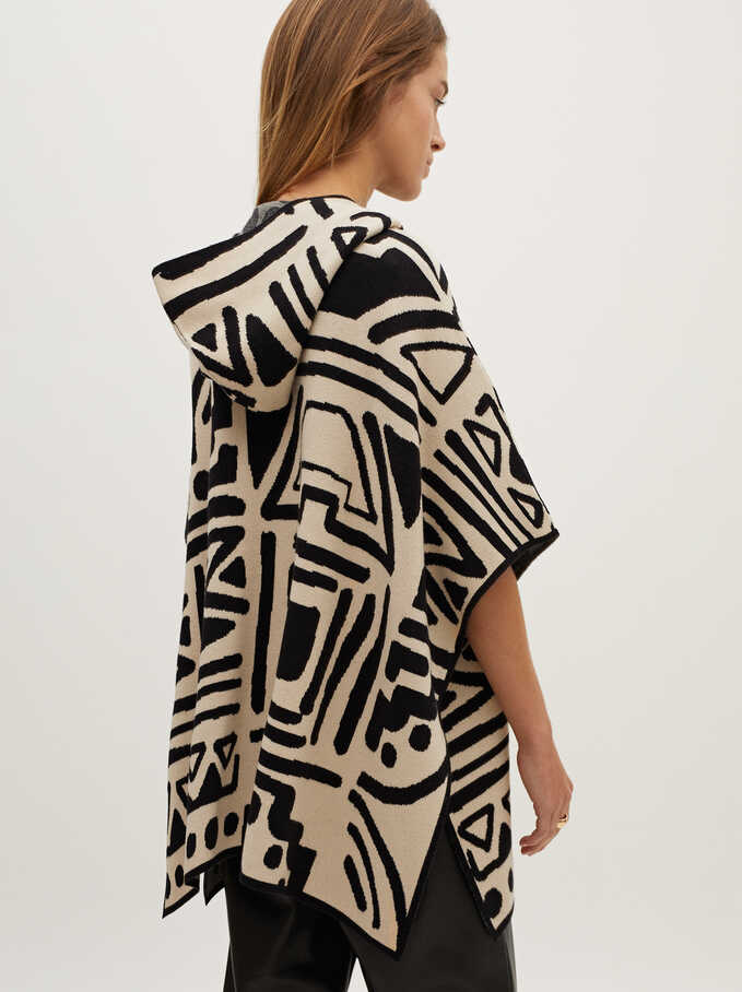 Printed Knit Poncho, Ecru, hi-res