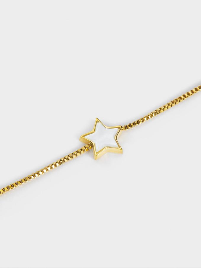 Pulsera Ajustable De Acero Estrella, Dorado, hi-res