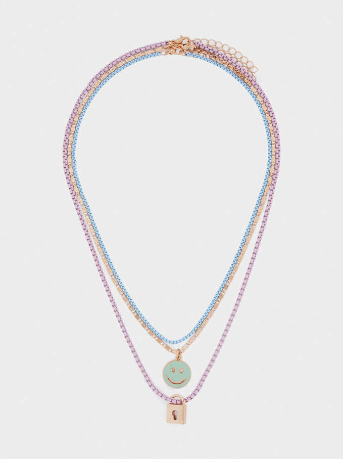 Set Of Contrasting Necklaces With Pendants, Multicolor, hi-res