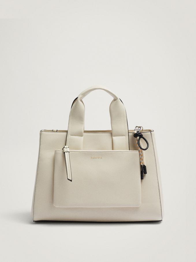 Tote Bag With Detachable Handle, Ecru, hi-res
