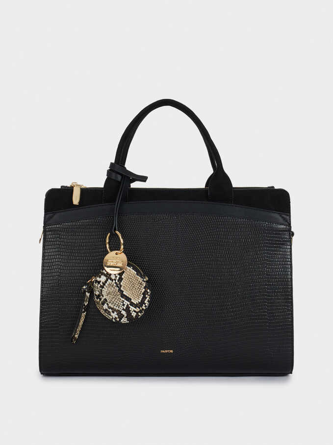 Briefcase With Animal Embossed Detail And Removable Shoulder Strap, Black, hi-res
