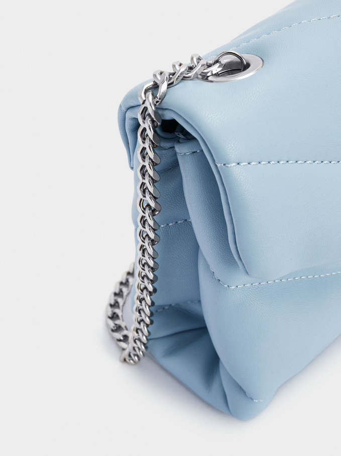 Quilted Crossbody Bag With Contrast Strap, Blue, hi-res