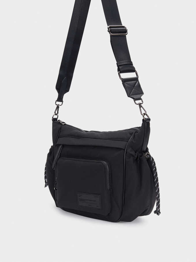 Nylon Shoulder Bag With Exterior Pocket, Black, hi-res
