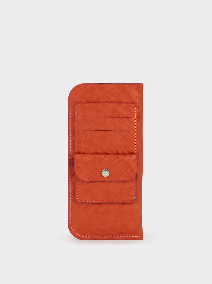 Glasses Case With Card Holder, Orange, hi-res