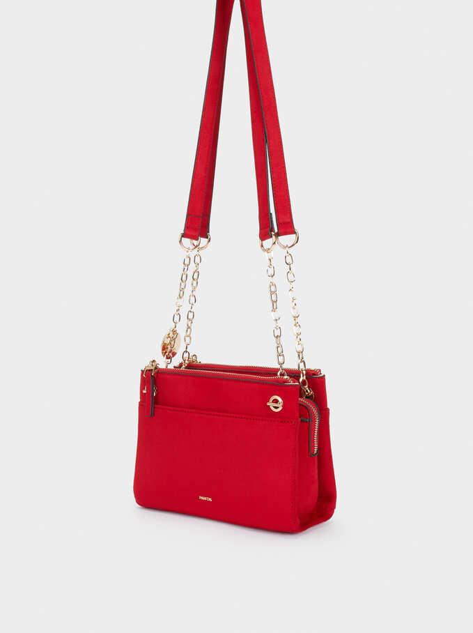 Fake Suede Crossbody Bag, Red, hi-res