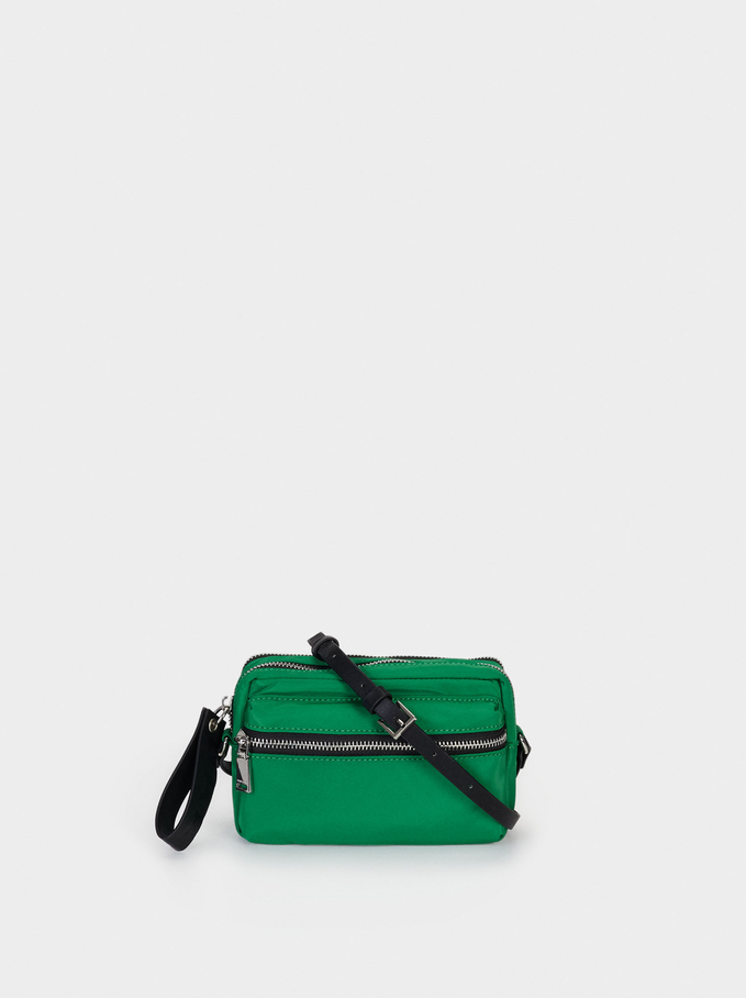 Nylon Crossbody Bag With Outer Pocket, Green, hi-res