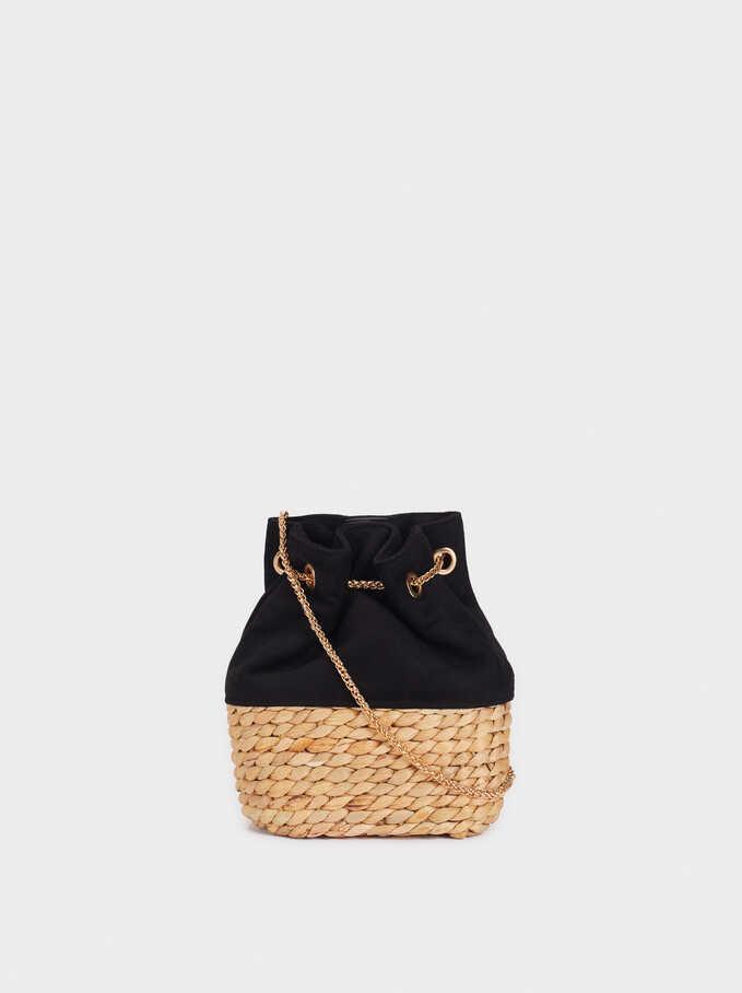 Bucket Bag With Contrasting Raffia, Black, hi-res