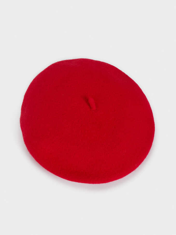Wool Beret, Red, hi-res