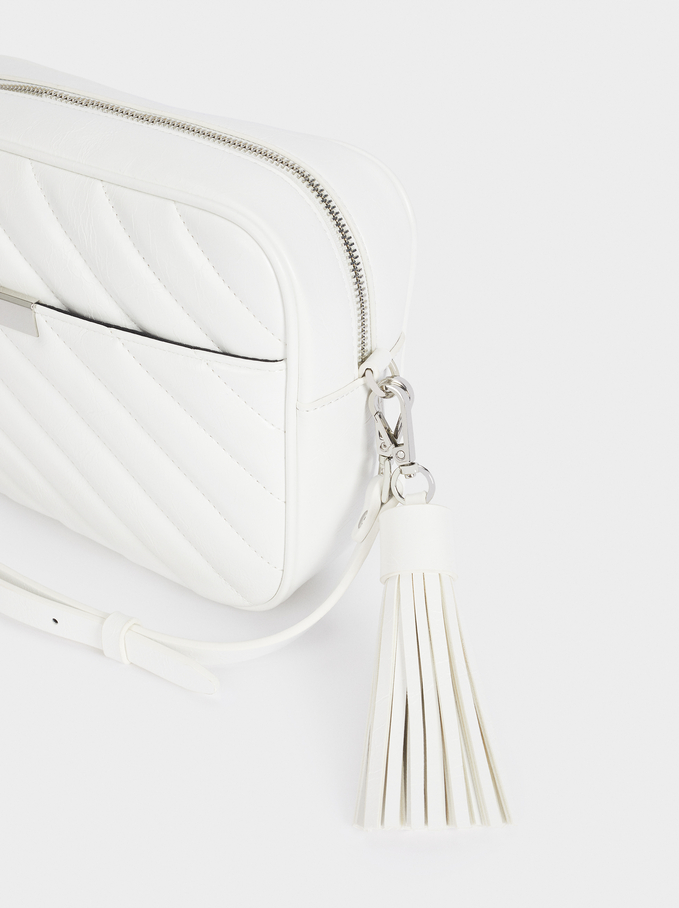 Quilted Crossbody Bag With Pendant, White, hi-res