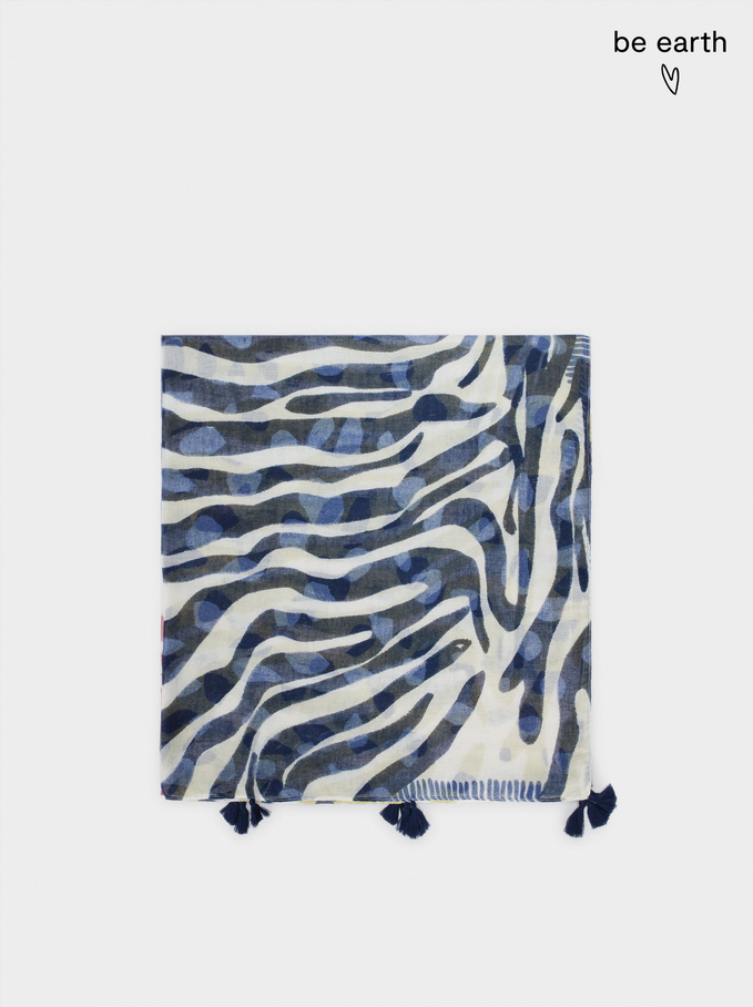 Printed Scarf Made From Recycled Materials, Ecru, hi-res