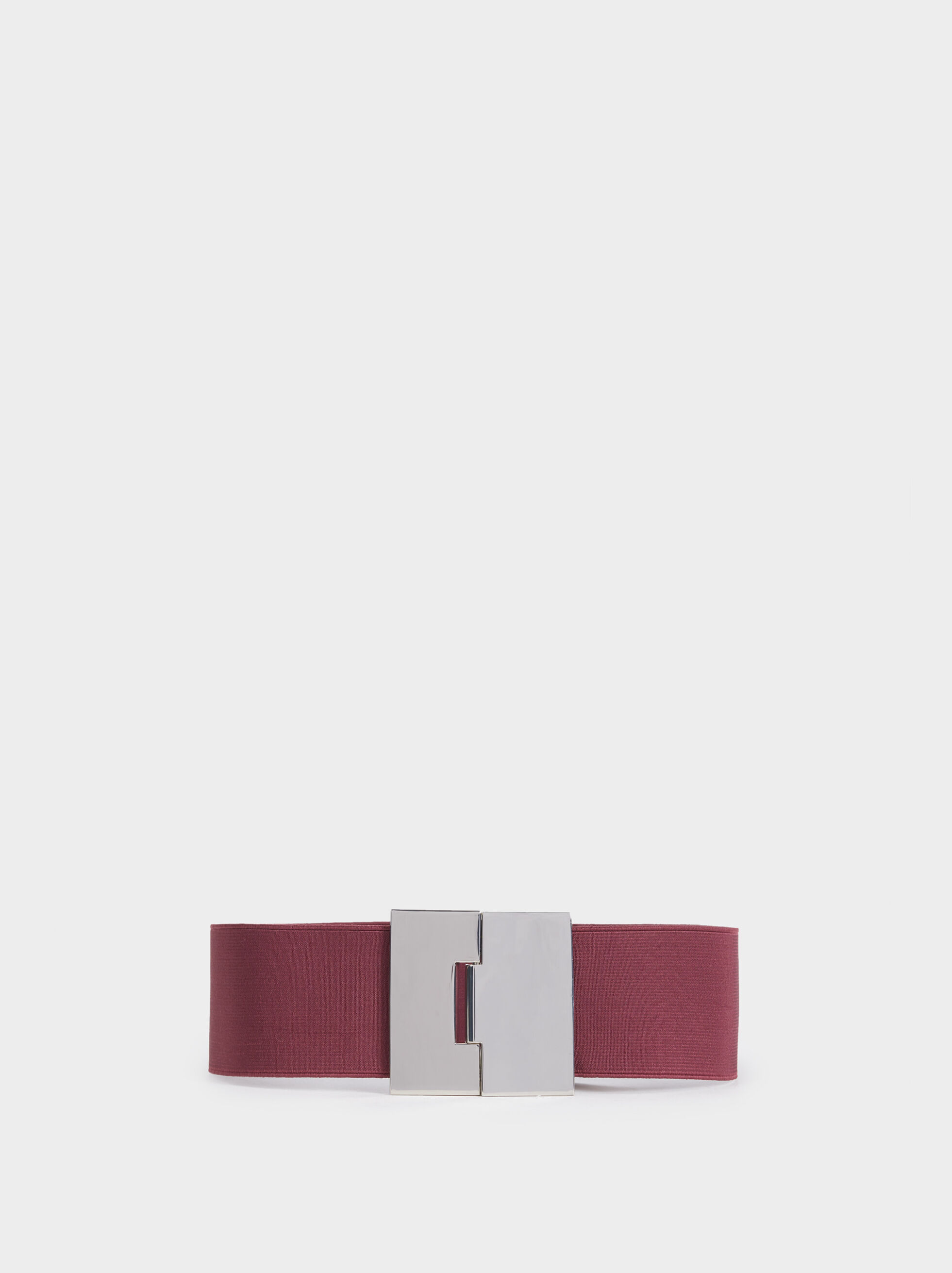 Elastic Belt With Silver-Plated Buckle, Bordeaux, hi-res