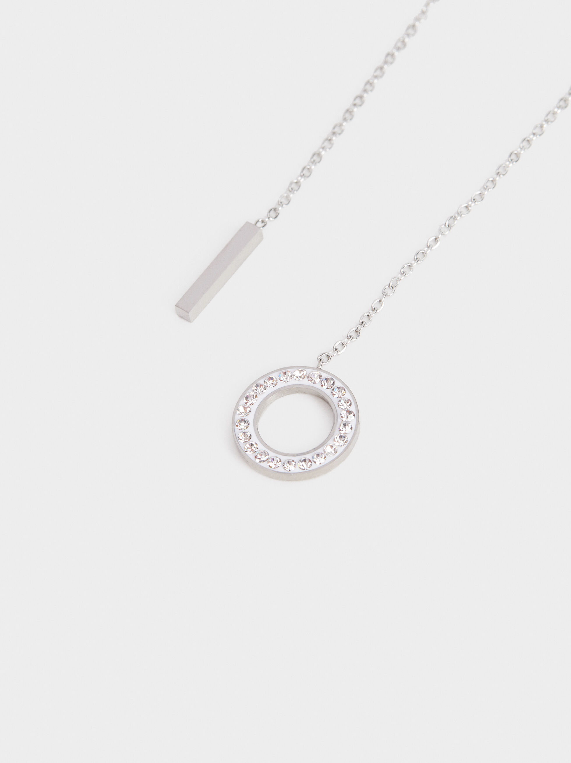 Short Steel Necklace With Rhinestones, Silver, hi-res