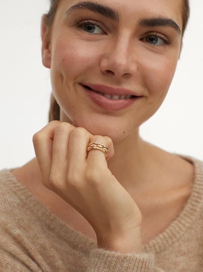 Pinky Finger Band Ring, Golden, hi-res