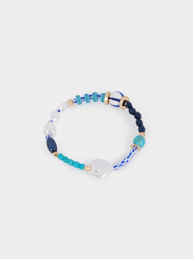 Elastyczna Bransoletka Z Koralikami, Niebieski, hi-res