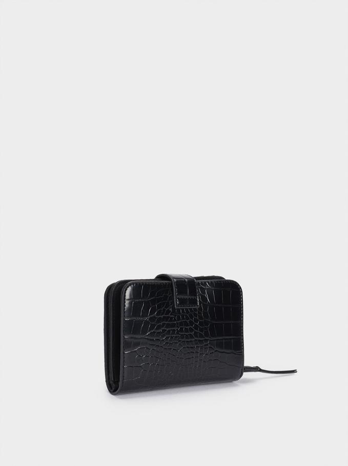 Embossed Animal Print Compact Purse, Black, hi-res