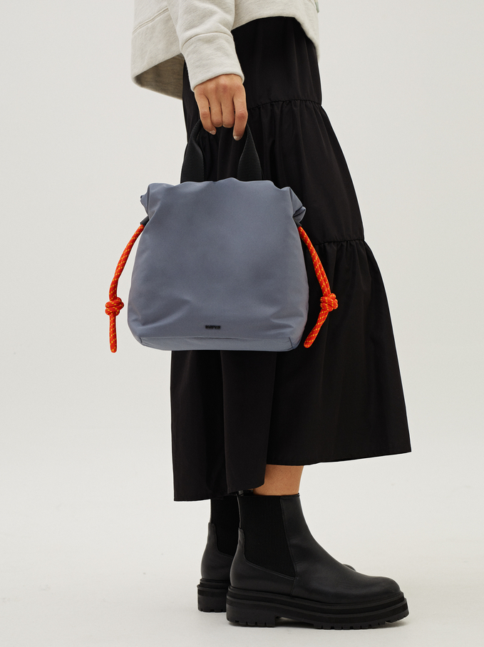 Nylon Tote Bag With Cord Detail, Blue, hi-res