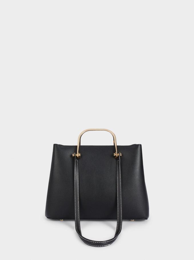 Bolso Shopper Con Asas Multiposición, Negro, hi-res