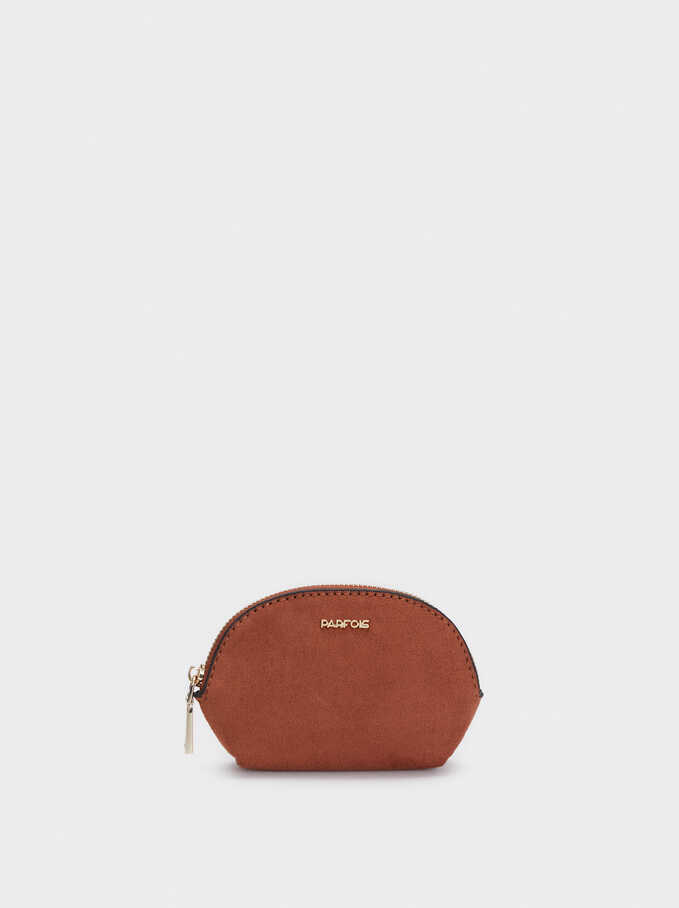Textured Suede Purse, Camel, hi-res