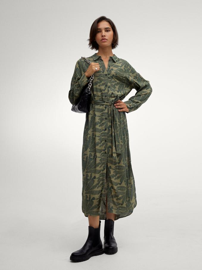 Vestido Camisero Con Estampado De Hojas, Verde, hi-res