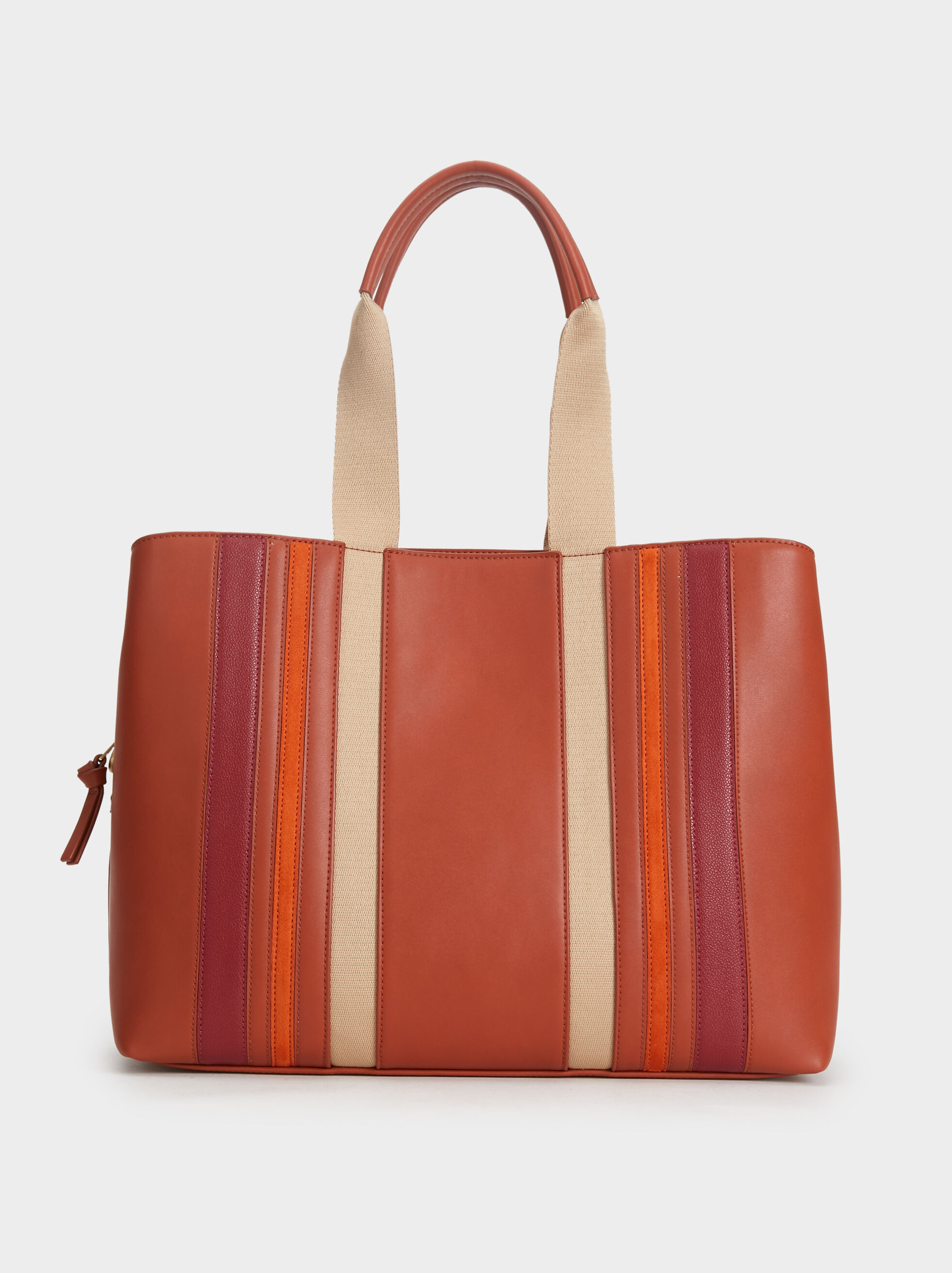 Patchwork Tote Bag, Brick Red, hi-res