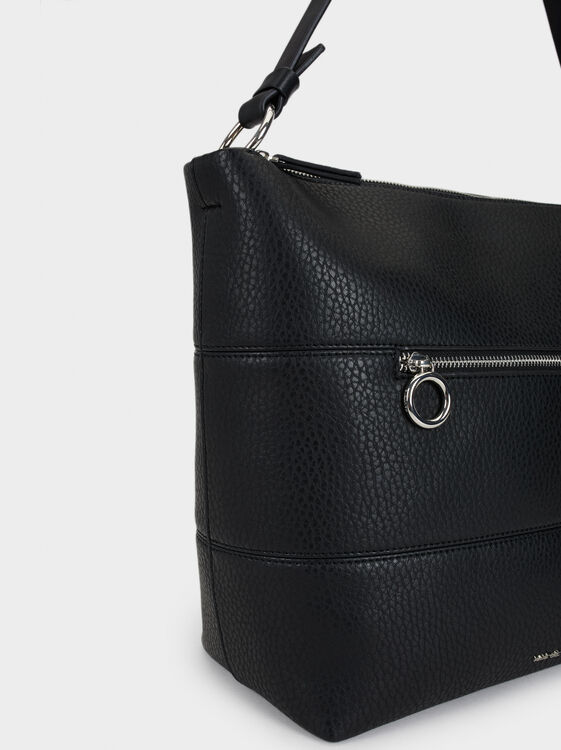 Tote Bag With Front Clasp, Black, hi-res