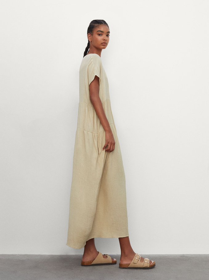 Long V-Neck Dress, Green, hi-res