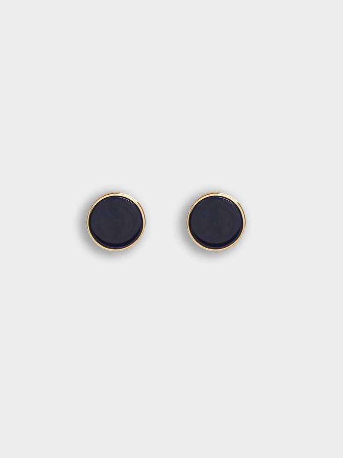 Short Resin Earrings, Navy, hi-res
