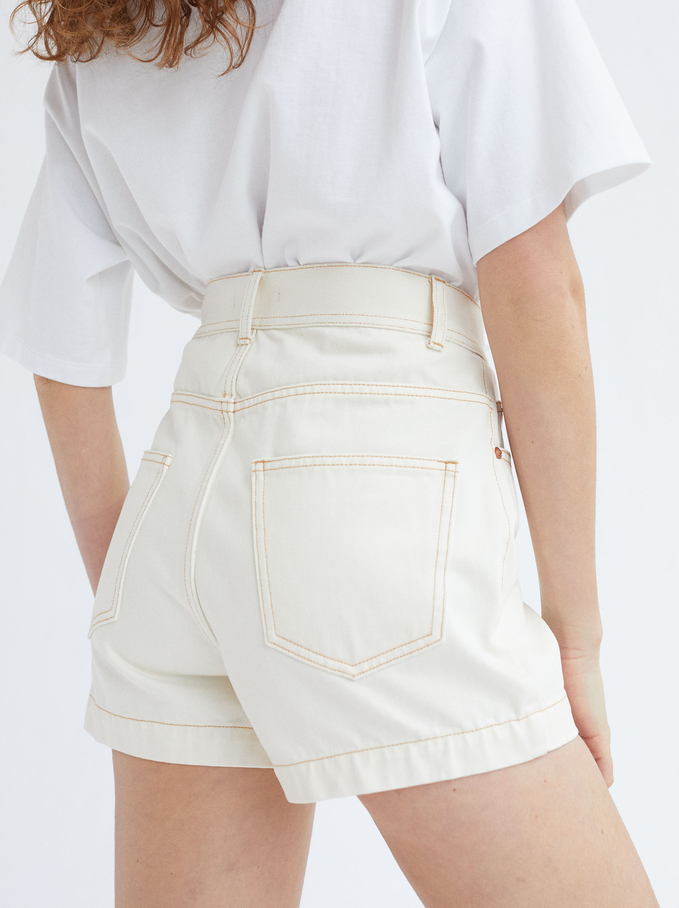 Limited Edition Denim Shorts With Buttons, Ecru, hi-res