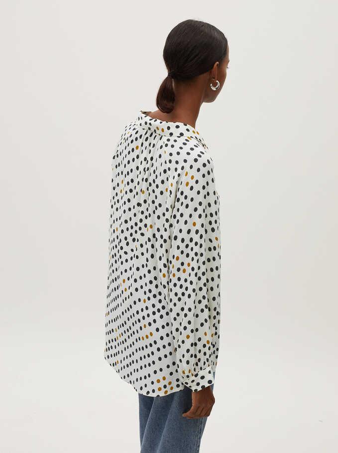 Loose-Fitting Polka Dot Shirt, White, hi-res