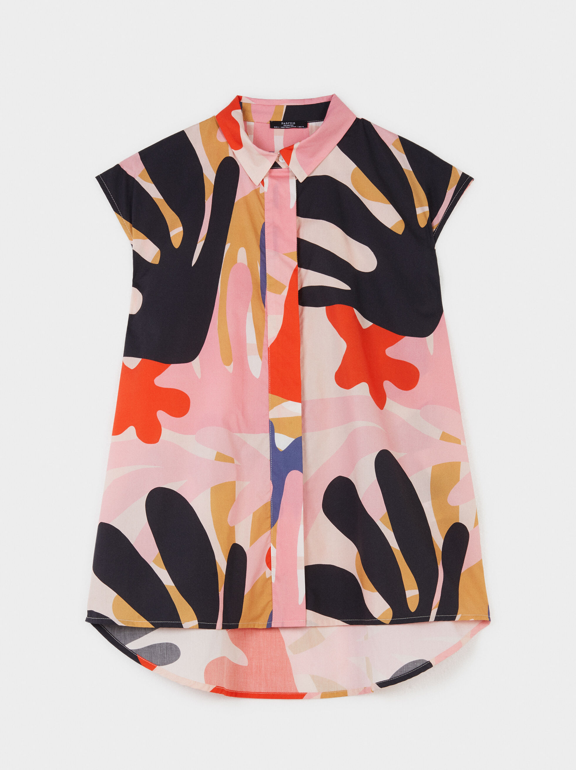 Multicoloured Printed Shirt With Pocket, Red, hi-res