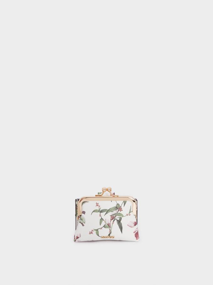 Porte-Monnaie Avec Porte-Cartes Imprimé Floral, Écru, hi-res