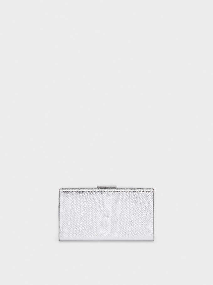 Embossed Animal-Print Party Clutch, Silver, hi-res