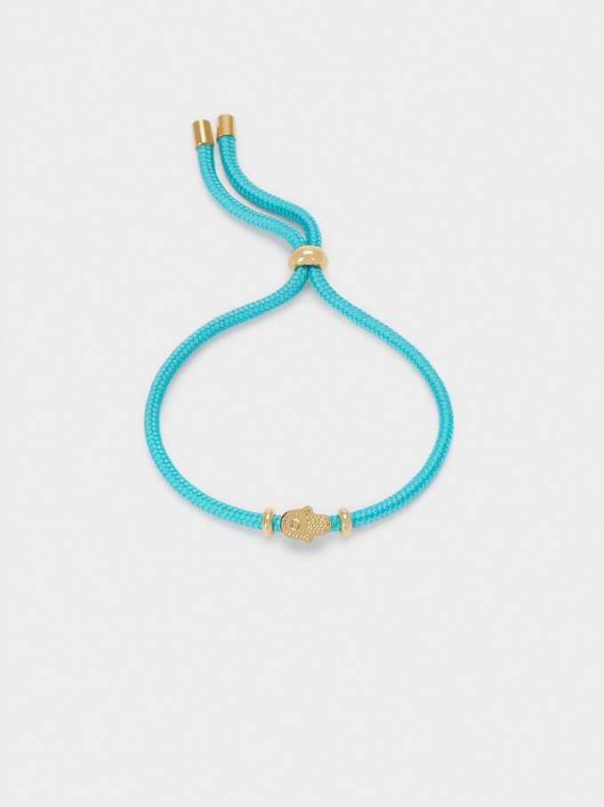 Adjustable Stainless Steel Bracelet With Hamsa Pendant, Beige, hi-res