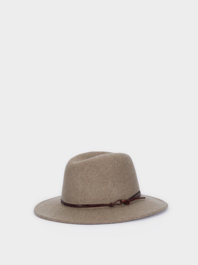 Woollen Hat With Contrast Band, Brown, hi-res