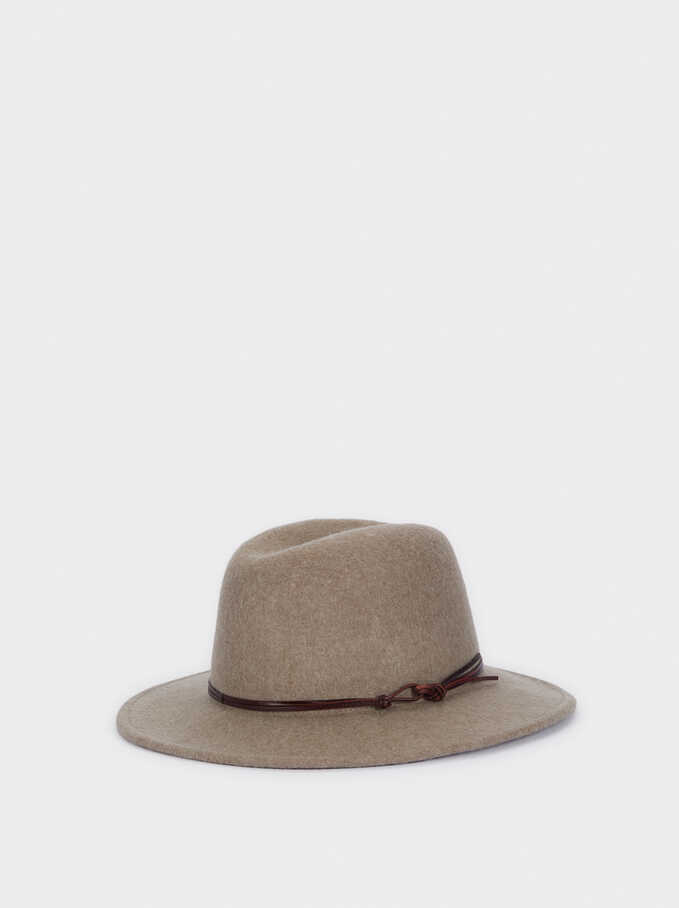 Woollen Hat With Contrast Band, Brown, hi-res