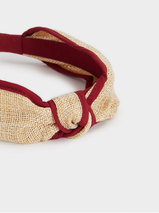 Knotted Headband, Red, hi-res