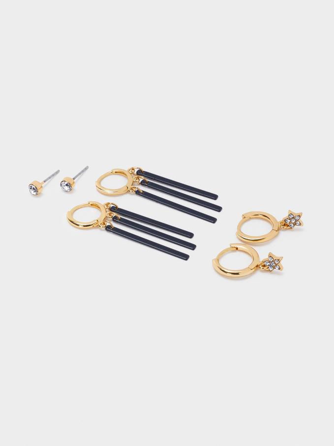 Set Of Hoop Earrings With Stars, Blue, hi-res