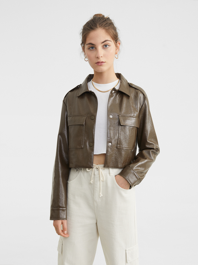 Short Jacket With Pockets, Brown, hi-res