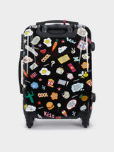 Printed Trolley Suitcase, Black, hi-res