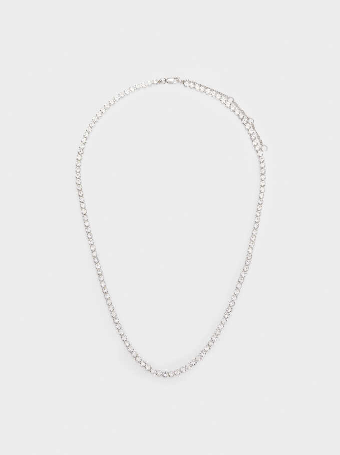 Short Stainless Steel Necklace With Crystals, Silver, hi-res
