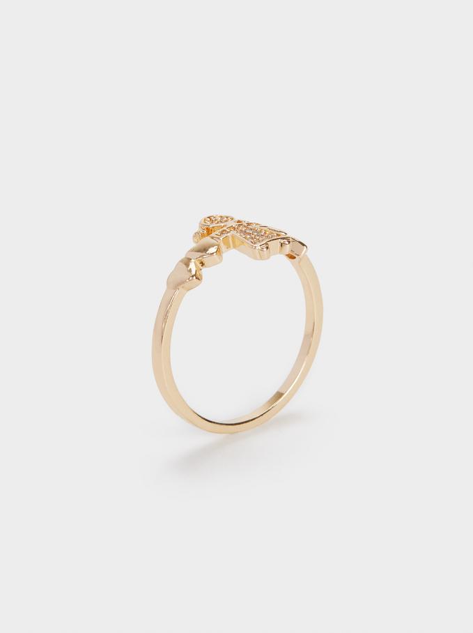 Girl'S Heart Ring, Golden, hi-res