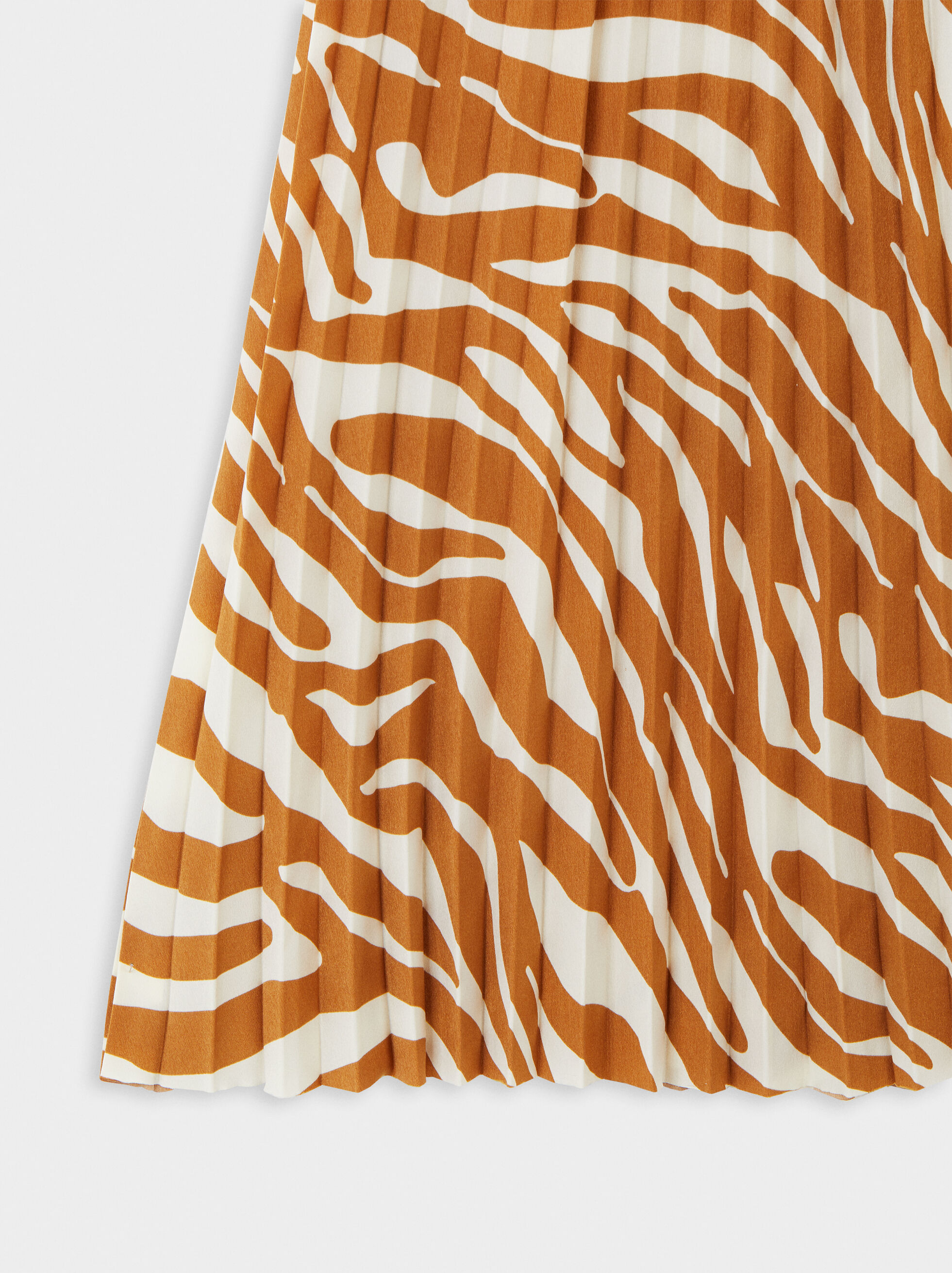 Pleated Printed Skirt With Elasticated Waist, Camel, hi-res
