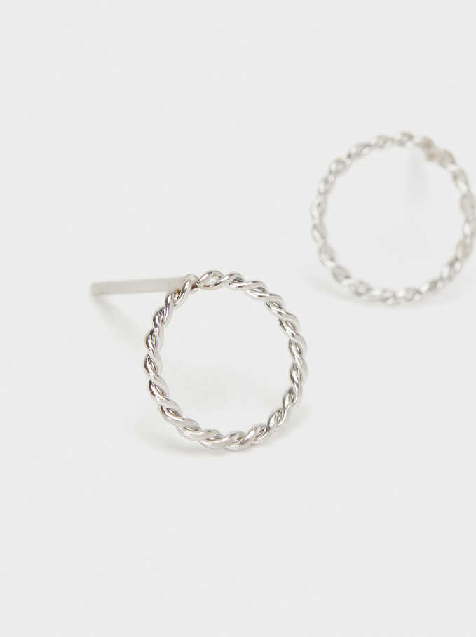 Short Steel Earrings, Silver, hi-res
