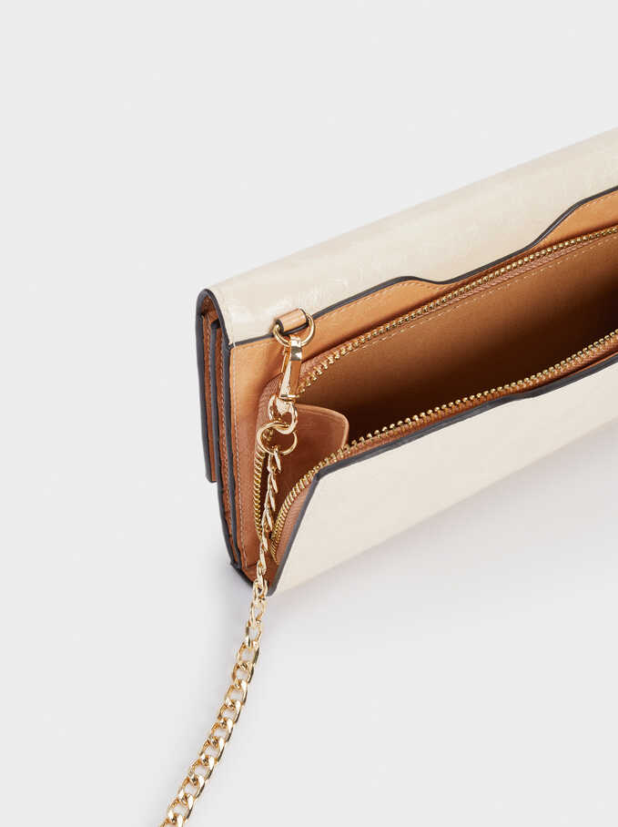 Long Wallet With Chain Handle, Ecru, hi-res