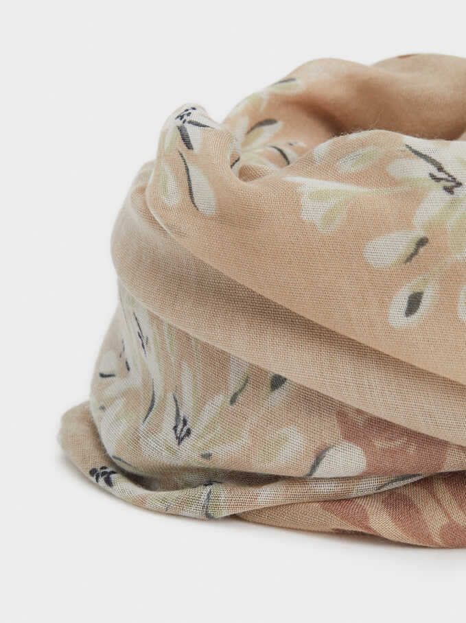 Floral Print Scarf, Brown, hi-res