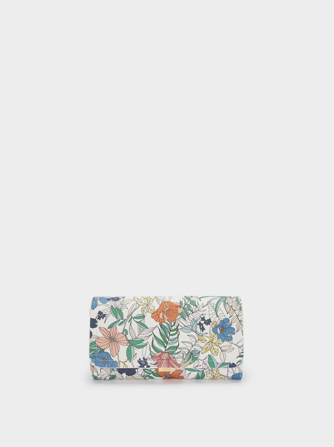 Floral Print Purse, Navy, hi-res